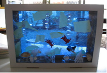 本物の貝を使用して作る海