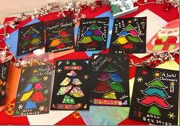 セロファンで作るクリスマスカード