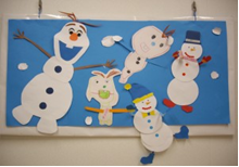 雪だるまの壁面飾り
