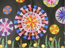 切り絵で作製する花火の壁画飾