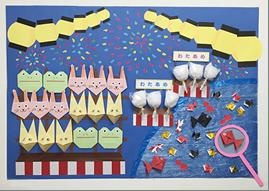夏祭りの楽しさがよく伝わる壁画飾り
