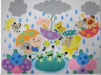 雨の中でも楽しそうな動物たちの壁画飾り