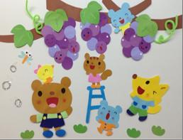 ぶどう狩りを楽しむ動物たちの壁画飾り